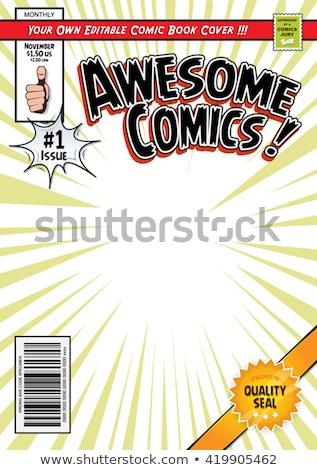 Comic Magazine Book Cover Template Design Stock photo © benchart