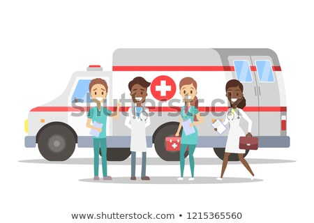 Paramedic standing by ambulance with medical kit Stock photo © monkey_business