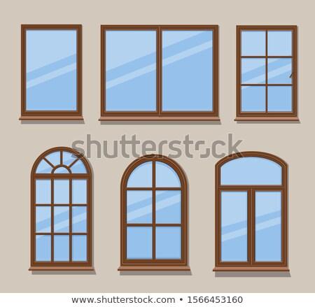 ayarlamak · dış · ahşap · pencereler · tuğla · kareler - stok fotoğraf © andrei_