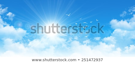Blue sky with white clouds. Sunny day and Good weather in the morning. Stock photo © artjazz