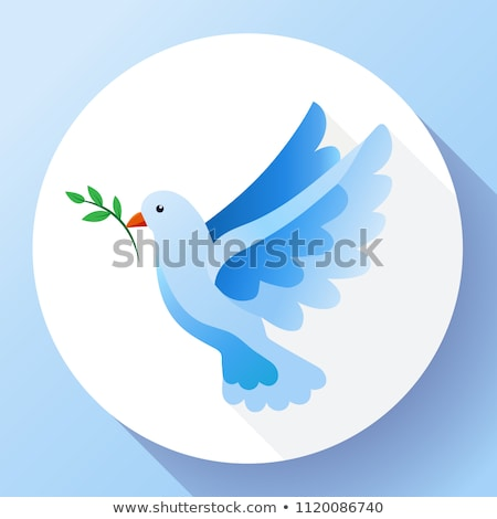 blue dove with branch peace icon flying blue bird and peace concept pacifism concept free flying stock photo © marysan
