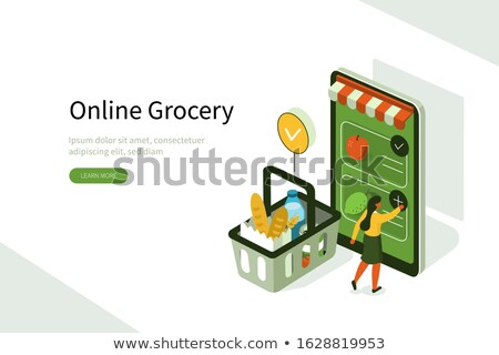 Isometric mobile shopping and purchase illustration. Stock photo © RAStudio