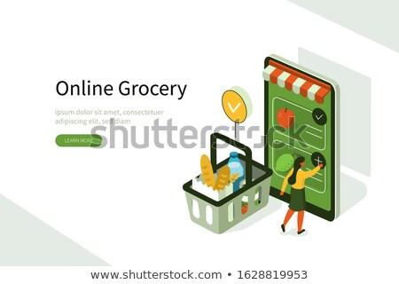 izometrikus · mobil · vásárlás · vétel · illusztráció · vásárlók - stock fotó © RAStudio
