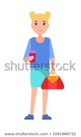 Kız öğrenci mavi bluz etek Stok fotoğraf © robuart