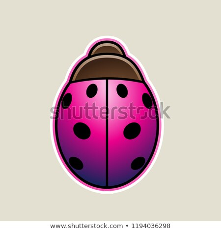 Magenta Cartoon Ladybug Icon Vector Illustration Stock photo © cidepix