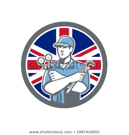 Brit hűtés szerelő ikon retró stílus illusztráció Stock fotó © patrimonio