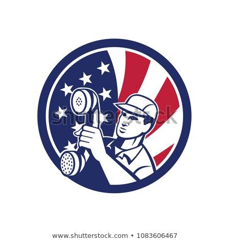 Americano telefone instalação reparar técnico ícone Foto stock © patrimonio
