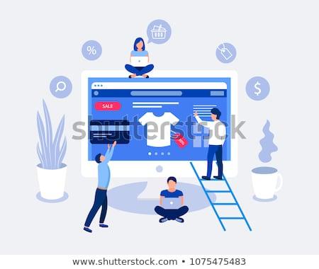 Vector isometric shop opening icon Stock photo © tele52