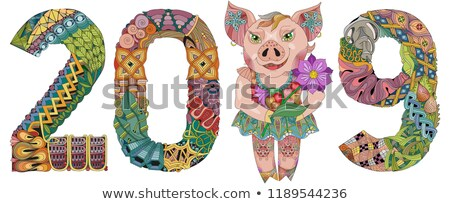Zentangle stylized piggy with number 2019 for decoration Stock photo © Natalia_1947