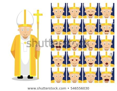 Mérges rajz pápa illusztráció férfi személy Stock fotó © cthoman