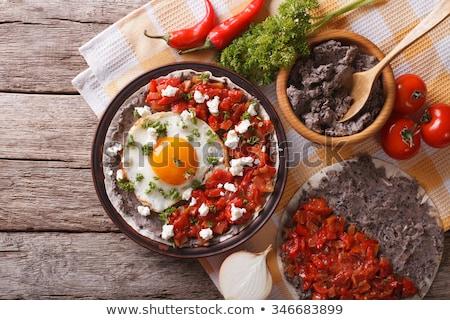 Tortilla tükörtojás kukorica tányér étel sajt Stock fotó © YuliyaGontar