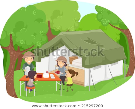 stickman kids tent camping illustration stock photo © lenm