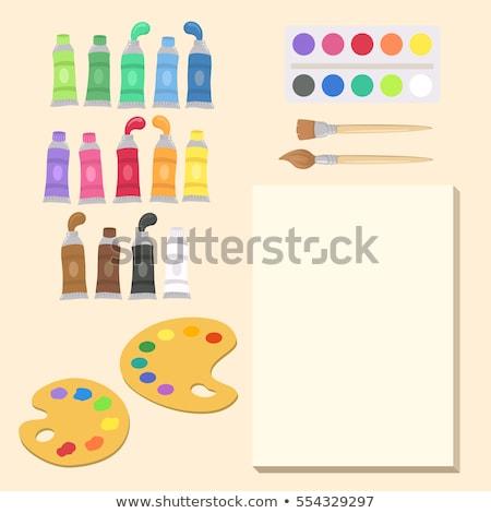 Akril szín festék csövek paletta képzőművészet Stock fotó © dolgachov