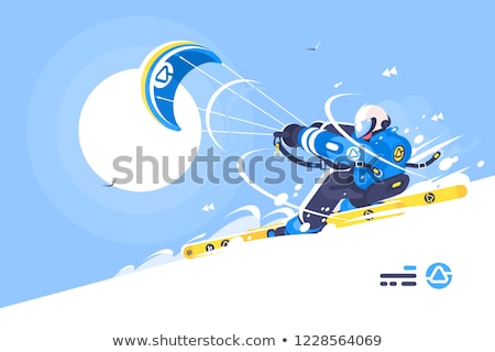 Stock photo: Sporty boy snowkiter on alpine skiing