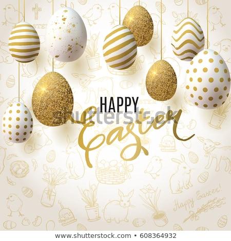 Kellemes húsvétot valósághű díszített tojások üdvözlőlap terv Stock fotó © Natali_Brill