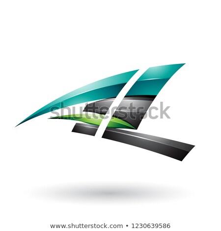 Czarny zielone dynamiczny pływające list Zdjęcia stock © cidepix