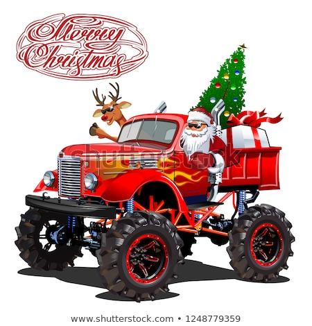 Vector Christmas Card With Cartoon Retro Christmas Monstertruck Stock fotó © Mechanik