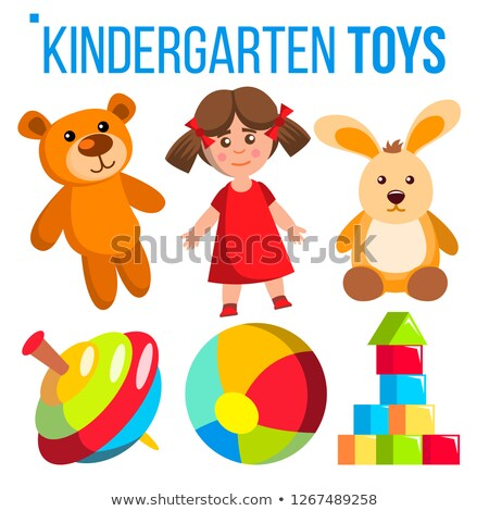 kindergarten toys set vector colorful items for childen preschool gaming room playground isolate stock photo © pikepicture