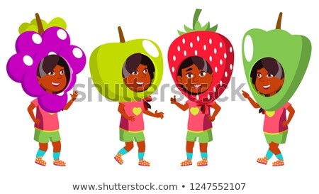 girl kindergarten kid poses set vector indian hindu asian party costume carnival young positive stock photo © pikepicture