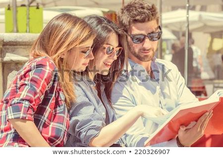 Two girls reading math book Stock photo © colematt