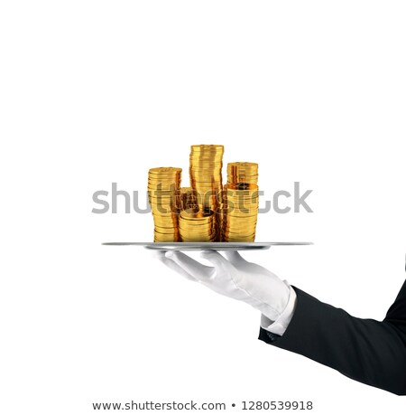 Stock fotó: Pincér · tálca · arany · érmék · első · osztály · szolgáltatás