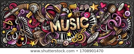 Doopvont ontwerp woord muziek hoofdtelefoon muziek merkt Stockfoto © colematt