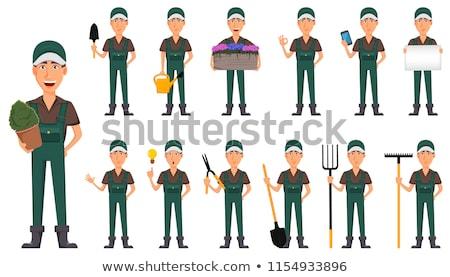 farmer work on farm and garden cartoon banner set stock photo © robuart