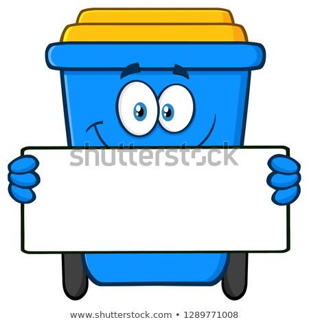 Smiling Blue Recycle Bin Cartoon Mascot Character Holding A Blank Sign Stock photo © hittoon
