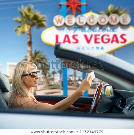 Femme voiture Las Vegas Voyage route voyage Photo stock © dolgachov