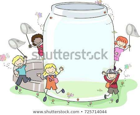 дети насекомое банку иллюстрация пусто Сток-фото © lenm
