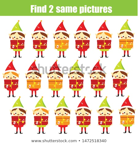 find two identical characters game for kids Stock photo © izakowski
