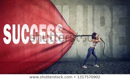 Motive kadın kırmızı afiş başarı Stok fotoğraf © ichiosea