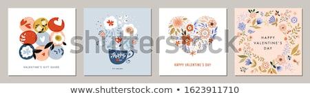 Foto stock: Cute · pastel · día · de · san · valentín · tarjeta · de · felicitación · establecer · colección