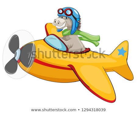 Horse riding airplane on white backgroud Stock photo © colematt