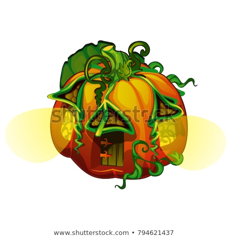 Fairy house in form of ripe pumpkin with glowing windows isolated on white background. Vector close- Stock photo © Lady-Luck