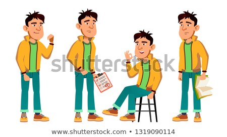 Asian Bad Boy Poses Set Vector. High School Child. Teenage. Beauty, Lifestyle, Friendly. For Postcar Stock photo © pikepicture