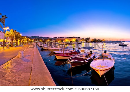 town of supetar waterfront evening view stock photo © xbrchx