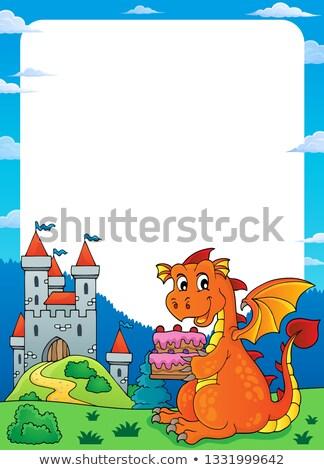 Dragon holding cake theme frame 1 Stock photo © clairev