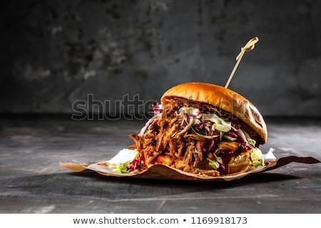 барбекю свинина картофель фри соус черный продовольствие Сток-фото © grafvision