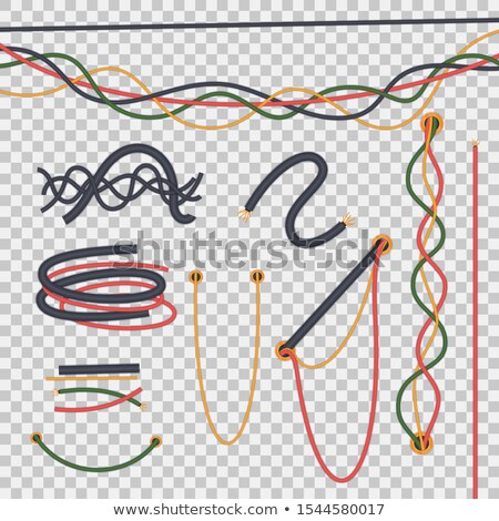 Electric Cables Set Vector. Copper Wire. Electrician Rubber Cord. Industrial Network Power. Electric Stock photo © pikepicture