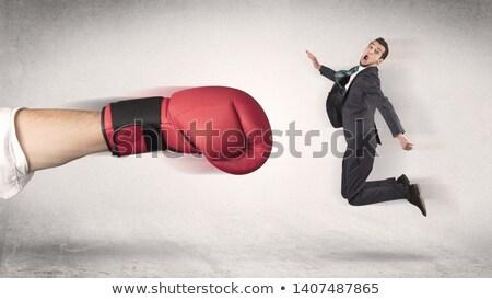 üzletember hatalmas box kéz állás boxkesztyűk Stock fotó © ra2studio