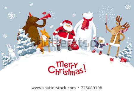 Stock foto: Heiter · Weihnachten · Urlaub · Banner · Fuchs · Hirsch