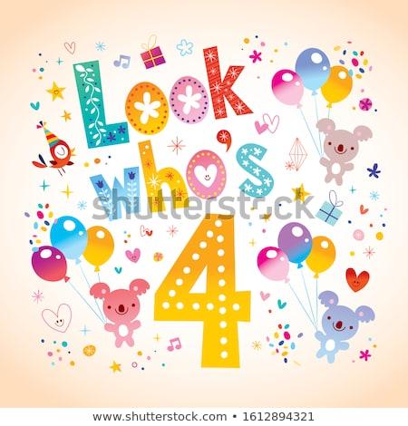 Negyedik születésnap rajz üdvözlőlap terv illusztráció Stock fotó © izakowski