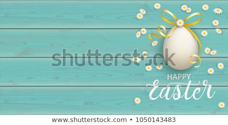 Golden Happy Easter Eggs Bow Wood Turquoise Header Stock photo © limbi007