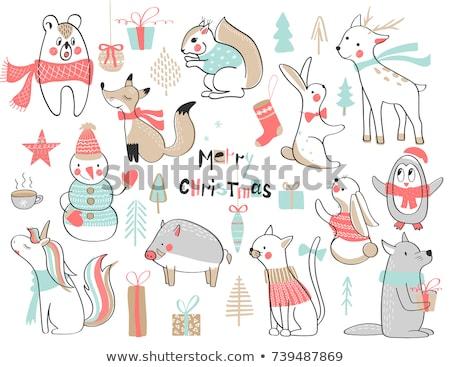 Vrolijk christmas eekhoorn geschenkdoos wolf gebreid Stockfoto © robuart