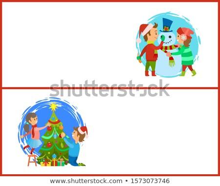 Construire bonhomme de neige arbre de noël web Photo stock © robuart