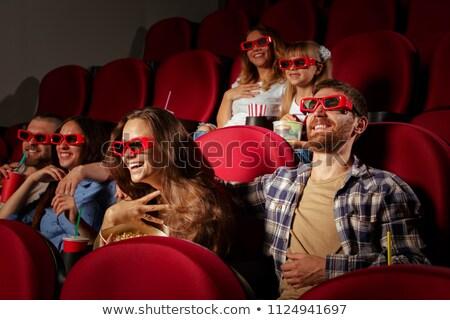 emberek · eszik · pattogatott · kukorica · színház · csoportkép · férfi - stock fotó © deandrobot