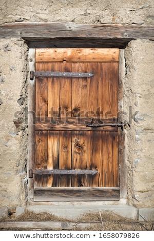 暗い · ブラウン · 木製 · ドア · 鉄 · 家 - ストックフォト © marylooo