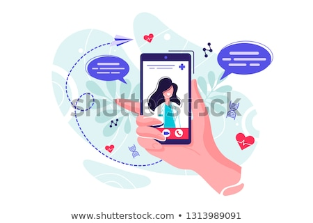 On line medical consultation. On line doctor concept. Flat vector illustration Stock photo © makyzz