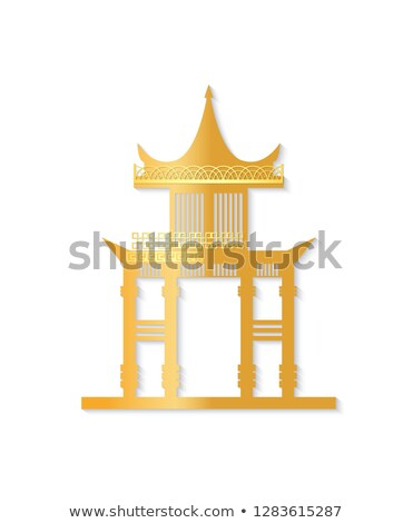 Golden Japan Gate with Decorated Roof Vector Stock photo © robuart